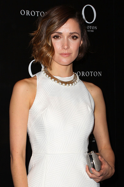 Rose Byrne Short Wavy Cut [hair,clothing,hairstyle,cocktail dress,dress,fashion model,lip,beauty,shoulder,neck,rose byrne,face,australia,sydney,queen victoria building,oroton boutique,rose bryne celebrates being the new face of oroton,oroton,celebration]