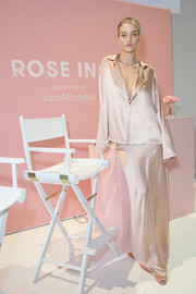 Rosie Huntington-Whiteley worked the pajama trend in a loose blush silk blouse by Sablyn at the Rose Inc. + bareMinerals Beauty Master Class.