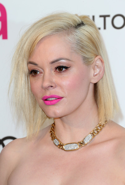 Rose McGowan Side Parted Straight Cut []