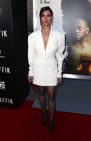 Roselyn Sanchez Tuxedo Dress [codeblack films,traffik,clothing,red carpet,suit,carpet,premiere,dress,fashion,formal wear,cocktail dress,flooring,arrivals,roselyn sanchez,arclight hollywood,california,premiere,premiere]