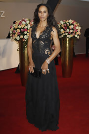 Barbara Becker looked gorgeous in a cutout sequined gown at the Rosenball.
