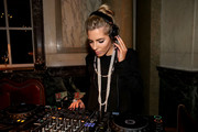 Mollie King looked elegant with her layered pearls while playing DJ at the Rosewood London launch.
