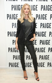 Rosie Huntington-Whiteley hosted a Paige SoHo event wearing a Saint Laurent tux jacket and a pair of leather leggings. Suiting up has never looked this sexy!