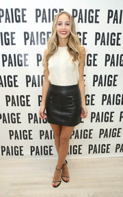 Harley Viera-Newton attended a Paige SoHo event looking cute in a white cable-knit tank top.