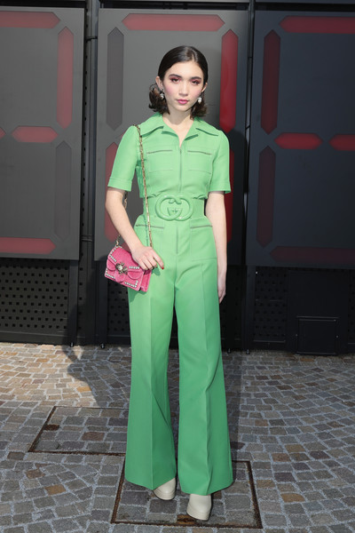 Rowan Blanchard Jumpsuit [clothing,green,fashion model,fashion,lady,beauty,fashion design,dress,formal wear,haute couture,rowan blanchard,milan,italy,gucci,milan fashion week,show,milan fashion week fall]