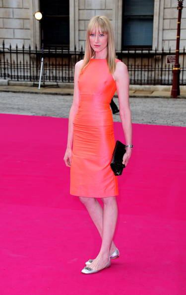 Jade Parfitt wowed at the Royal Academy Summer Exhibition in a salmon shift dress with a slight metallic sheen.