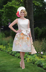 Amanda Holden wore a feminine Azagury dress with a floral skirt to Royal Ascot.
