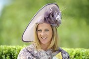 Sally Gunnell wore an elaborate flower-embellished lavender hat to Royal Ascot.