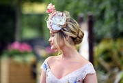 Laura Whitmore styled her hair into an elegant loose bun for Royal Ascot 2017.