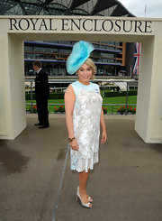 Brix wore a blue and white lace sleeveless shift dress while attending the Royal Ascot Races.