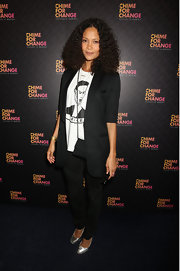 An oversized blazer topped off Thandie Newton's casual and cool look at the 'Chime for Change: The Sound of Change Live' concert.