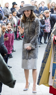 Kate Middleton looked classy in a printed gray coat by Erdem while attending the Commonwealth Observance Day service.