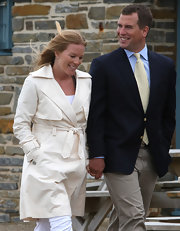 Autumn Phillips looked gleaming in a crisp white trenchcoat while disembarking the Hebridean Princess.