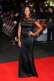 Jamelia went for classic sophistication in a black lace-panel evening dress at the 'Mandela' screening in London.