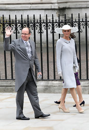 Charlene looked exquisite at the royal wedding in a pale blue 60's inspired cocktail dress.