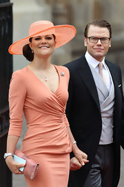 Princess Victoria perfectly paired her blushing Elie Saab dress with a wide brimmed hat for the royal fete.