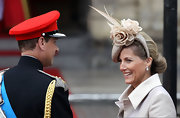 Royal weddings are all about fancy headwear like this spectacular nude piece Sophie Countess of Wessex wore.