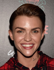 Ruby Rose stopped by the Surrender Nightclub wearing a neat fauxhawk.