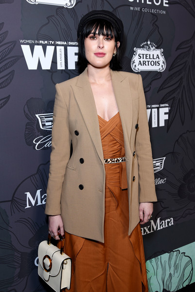 Rumer Willis Leather Purse [clothing,outerwear,suit,blazer,coat,trench coat,overcoat,fashion,formal wear,jacket,12th annual women in film oscar nominees party,stella artois,max mara with additional support from chloe wine collection,rumer willis,support,spring place,los angeles,cadillac,red carpet,max mara]