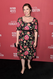 Rachel Bloom looked very ladylike in a floral midi dress by Dolce & Gabbana at the Patron of the Artists Awards.