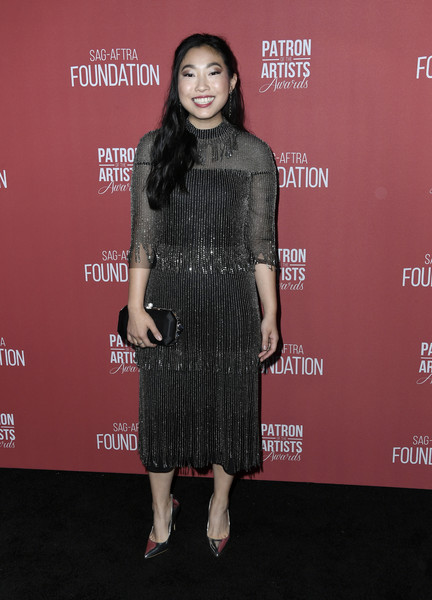 More Pics of Awkwafina Long Wavy Cut (1 of 4) - Awkwafina Lookbook - StyleBistro [clothing,dress,fashion,premiere,carpet,red carpet,footwear,flooring,event,little black dress,arrivals,awkwafina,beverly hills,california,wallis annenberg center for the performing arts,sag-aftra foundations 4th annual patron of the artists awards]