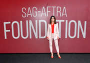 Sandra Bullock teamed a pink pantsuit with a red shirt for the SAG-AFTRA Foundation Conversations: 'Bird Box.' Gorgeous color combo!