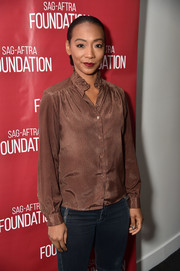 Betty Gabriel donned a brown ruffle-collar blouse for the SAG-AFTRA Foundation Conversations.
