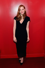 Jessica Chastain attended the SAG-AFTRA Foundation Conversations wearing a plunging black dress with a laser-cut hem and sleeves.
