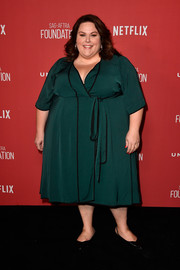 Chrissy Metz kept it classic in a green wrap dress at the SAG-AFTRA Foundation Patron of the Artists Awards.