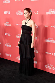 Kate Mara channeled summer in a tiered black halter gown by Christian Dior at the SAG-AFTRA Foundation Patron of the Artists Awards.