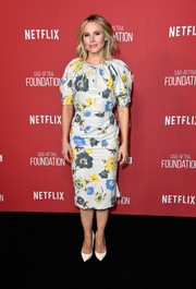 Kristen Bell was sweet and chic in a Ferragamo floral midi dress at the SAG-AFTRA Foundation Patron of the Artists Awards.