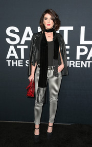 Shenae Grimes rocked a tight pair of black-and-white striped pants at the Saint Laurent show.
