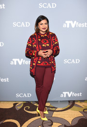Mindy Kaling looked demure in a floral cardigan and a matching top at the 'Mindy Project' event during aTVfest.