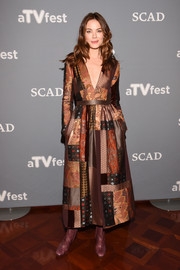 Michelle Monaghan looked charming wearing this Etro patchwork dress in autumn hues for the 'Path' event during aTVfest.
