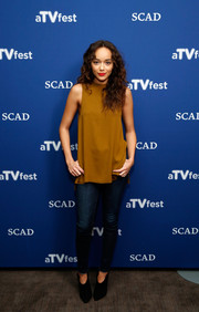 Ashley Madekwe donned a simple loose tan top for day 2 of aTVfest.