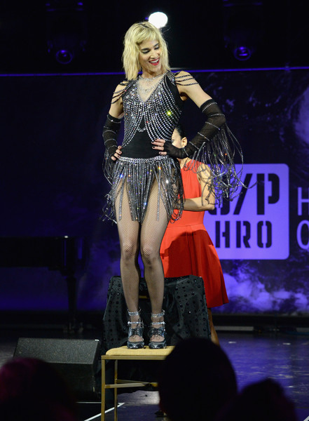 Sofia Boutella performed at the Haiti Rising Gala looking flapper-chic in a fringed and beaded bodysuit.