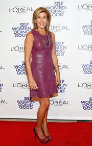 Hoba Kotb was right on trend in this cranberry leather dress at the SELF Magazine Awards.