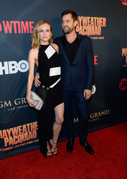 Diane Kruger was a knockout in an asymmetrical black-and-white halter dress by Anthony Vaccarello at the Mayweather vs. Pacquiao pre-fight party.