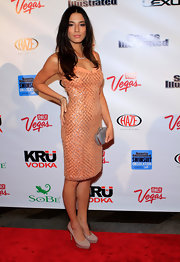 Jessica Gomes wore this tangerine sequined cocktail dress to the 'Sports Illustrated' party.