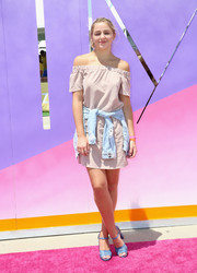 Chloe Lukasiak looked summery in a nude off-the-shoulder mini dress at the SIMPLY Los Angeles Fashion + Beauty Conference.