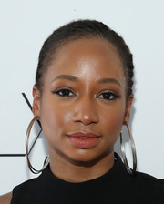Monique Coleman sported a cool cornrow ponytail at the SIMPLY Los Angeles Fashion + Beauty Conference.