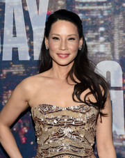 Lucy Liu wore a simple half-up style during the SNL 40th anniversary celebration.