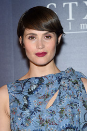 Gemma Arterton looked funky with her emo bangs at the premiere of 'Their Finest.'