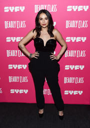 Janel Parrish donned a strapless black jumpsuit by Laura Basci for the premiere of 'Deadly Class.'
