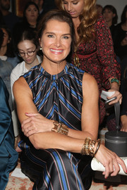 Brooke Shields got blinged up with a ton of gold bracelets for the Sachin & Babi fashion show.