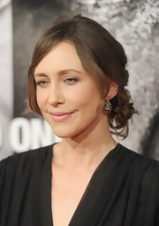 Vera Farmiga wore her hair in a loosely pinned updo with longer face-framing layers at the NYC premiere of 'Safe House.'