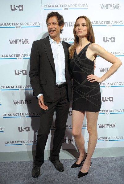 Saffron Burrows Little Black Dress [jeff goldblum,saffron burrows,fashion,white-collar worker,dress,suit,formal wear,cocktail dress,event,little black dress,tuxedo,fashion design,character approved awards cocktail reception,cocktail reception,character approved awards,new york city,iac building]