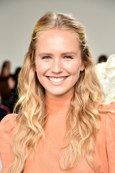 Sailor Brinkley Cook Half Up Half Down [shows,the shows,hair,face,blond,hairstyle,eyebrow,skin,beauty,long hair,chin,brown hair,brinkley cook,zimmermann - front row,front row,gallery i,new york city,zimmermann,spring studios,new york fashion week]