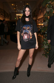 Kendall Jenner attended the Del Toro Chandler Parsons event wearing a Givenchy Rottweiler tee (and not much else).