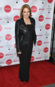 Katie Couric attended the 'Opposite of Hate' book launch wearing a leather biker jacket over a matching jumpsuit.
